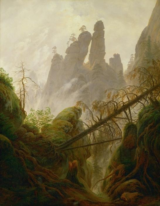 Papier peint vinyle Caspar David Friedrich - Ravin rocheux dans les montagnes de grès de l'Elbe - Reproductions