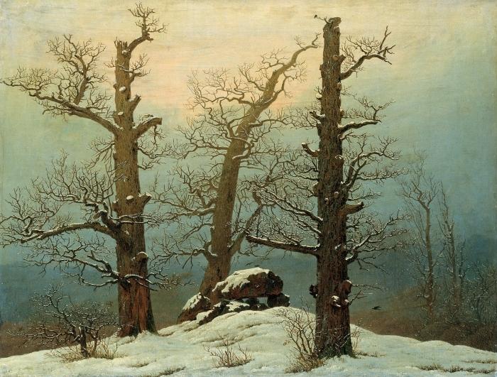 Papier peint vinyle Caspar David Friedrich - Cairn dans la neige - Reproductions