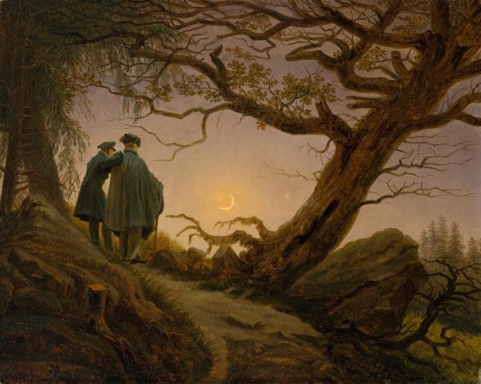Naklejka Pixerstick Caspar David Friedrich - Dwaj mężczyźni kontemplujący księżyc - Reproductions