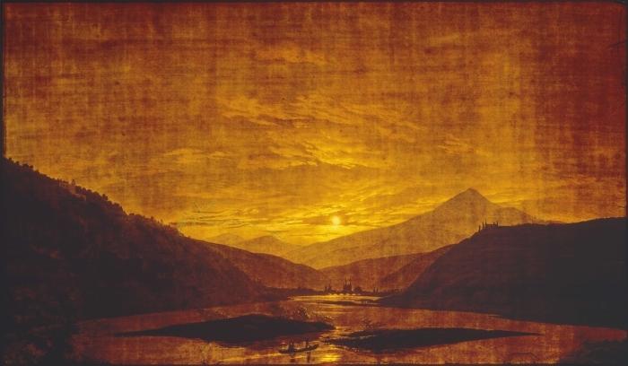 Papier peint vinyle Caspar David Friedrich - Paysage de rivière montagneuse - Reproductions