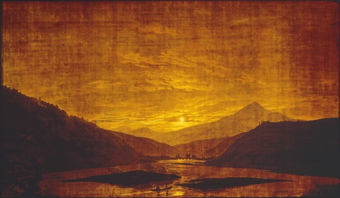 Vinilo Pixerstick Caspar David Friedrich - Paisaje montañoso de río - Reproductions