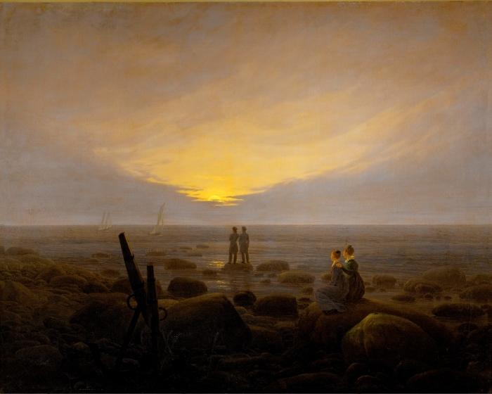 Vinil Duvar Resmi Caspar David Friedrich - Nascer da Lua sobre o Mar - Reproductions