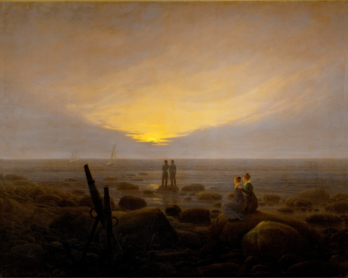 Naklejka Pixerstick Caspar David Friedrich - Wschód księżyca nad morzem - Reproductions