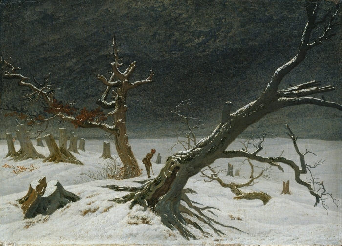 Naklejka Pixerstick Caspar David Friedrich - Pejzaż zimowy - Reproductions