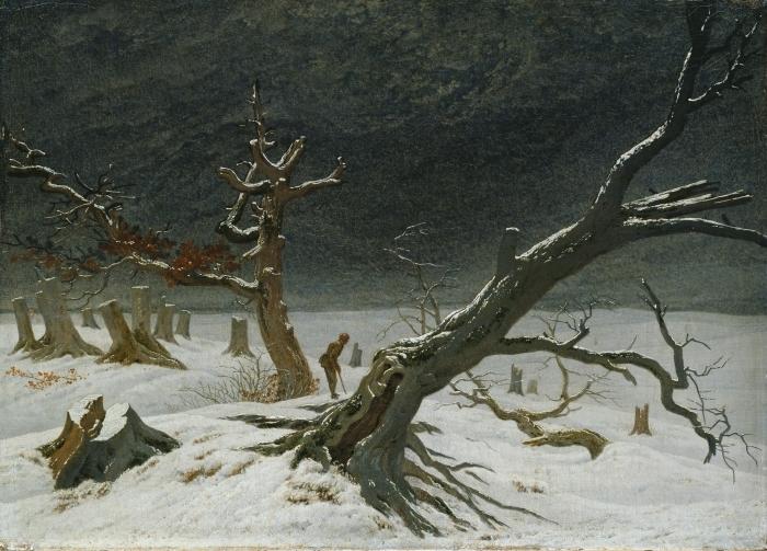 Papier peint vinyle Caspar David Friedrich - Paysage d'hiver - Reproductions