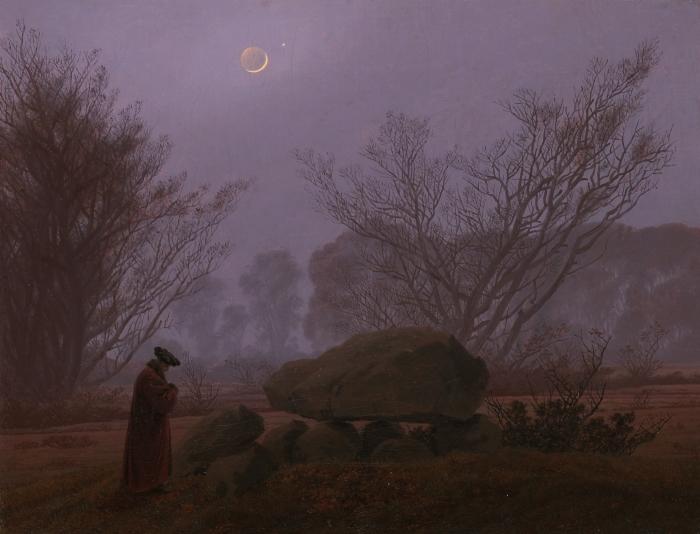 Naklejka Pixerstick Caspar David Friedrich - Spacer o zmierzchu - Reproductions