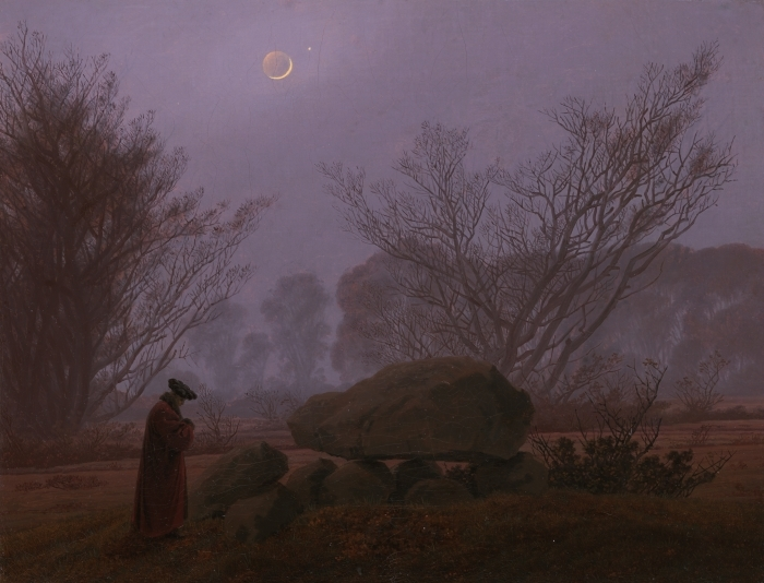 Sticker Pixerstick Caspar David Friedrich - Une promenade au crépuscule - Reproductions