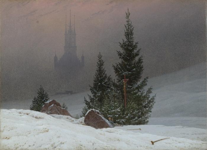 Naklejka Pixerstick Caspar David Friedrich - Pejzaż zimowy II - Reproductions