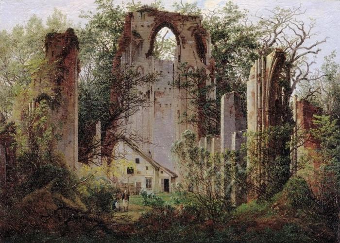 Sticker Pixerstick Caspar David Friedrich - Ruine du monastère Eldena - Reproductions