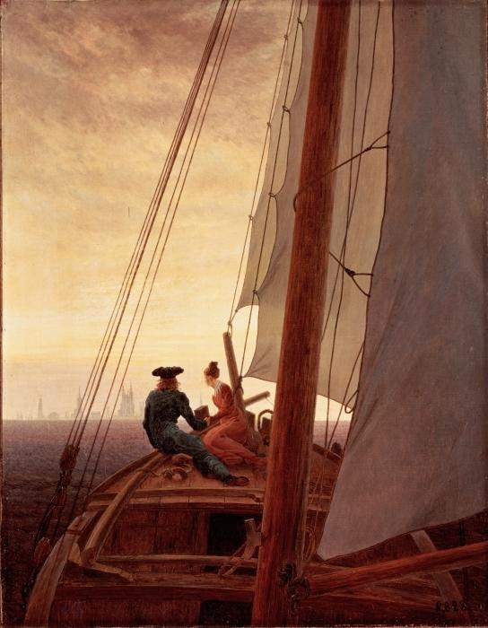 Sticker Pixerstick Caspar David Friedrich - Sur un bateau à voile - Reproductions