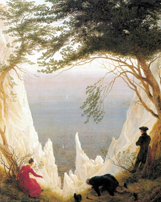 Naklejka Pixerstick Caspar David Friedrich - Skały kredowe na Rugii - Reproductions