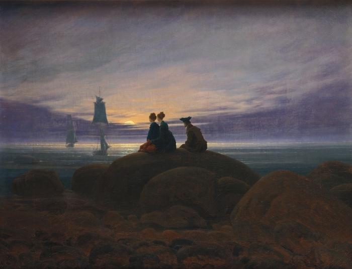 Caspar David Friedrich - Moonrise Over the Sea II Pixerstick Sticker - Reproductions