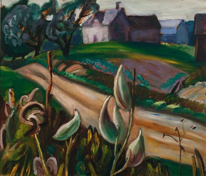 Papier peint vinyle Efa Prudence Heward - Route de campagne avec bâtiments agricoles et asclépiade - Reproductions
