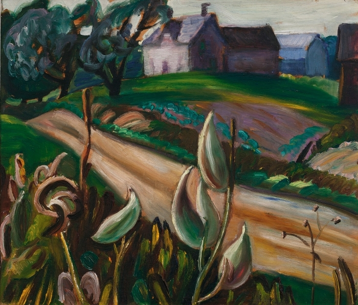 Efa Prudence Heward - Country Road with Farm Buildings and Milkweed Vinyl Wall Mural - Reproductions