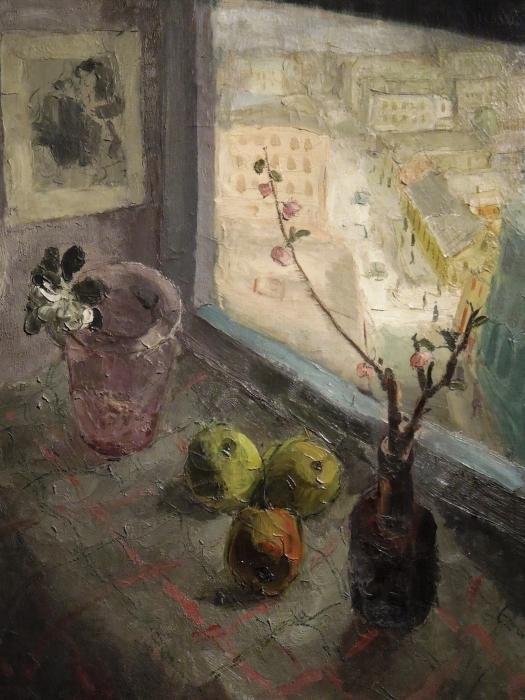 Naklejka Pixerstick Efraim i Menasze Seidenbeutlowie - Widok z okna - Reproductions