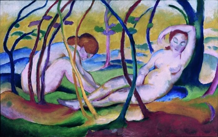 Papier peint vinyle Franz Marc - Nus sous les arbres - Reproductions