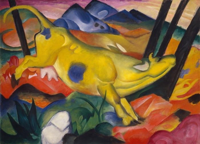 Papier peint vinyle Franz Marc - Vache jaune - Reproductions