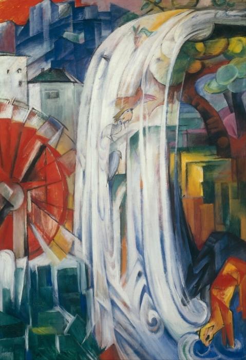 Papier peint vinyle Franz Marc - Le moulin envouté - Reproductions