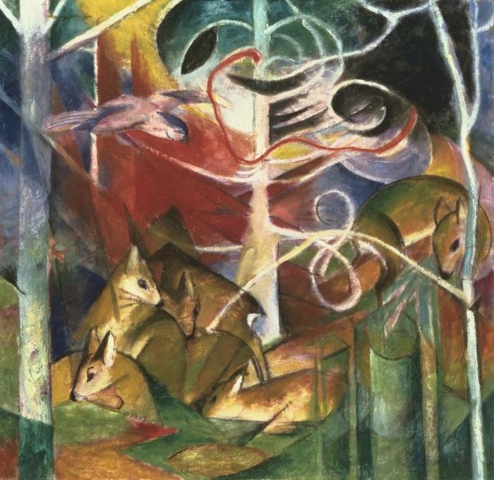 Papier peint vinyle Franz Marc - Cerf dans la forêt I - Reproductions