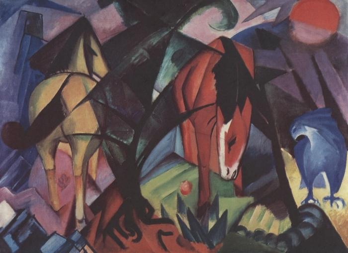 Papier peint vinyle Franz Marc - Chevaux et aigle - Reproductions