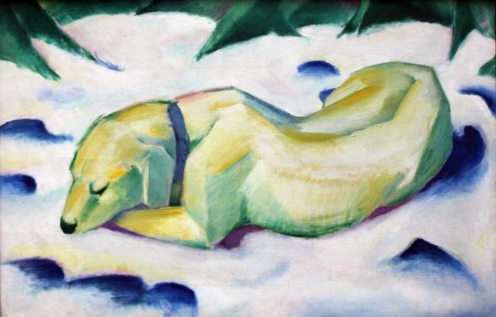 Papier peint vinyle Franz Marc - Chien couché dans la neige - Reproductions