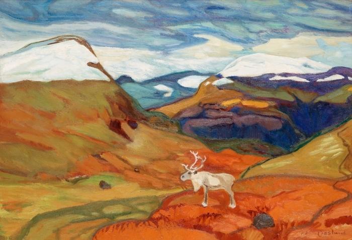 Papier peint vinyle Helmer Osslund - Paysage d'automne avec des rennes - Reproductions