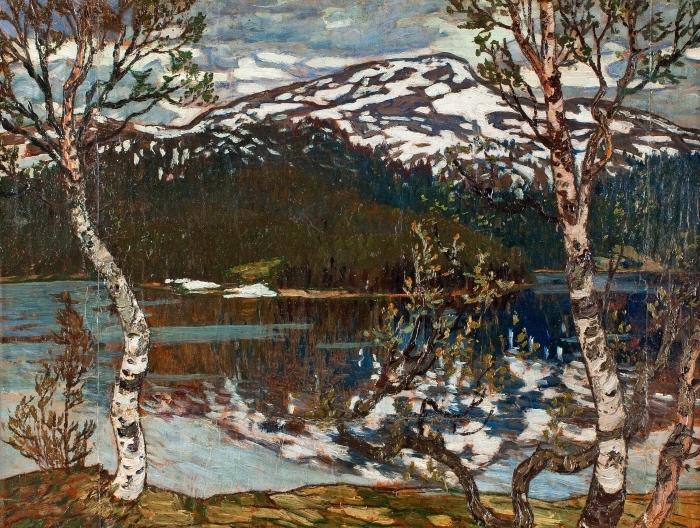 Naklejka Pixerstick Helmer Osslund - Wiosenny dzień nad jezioren Rensjön w pobliżu Åre - Reproductions