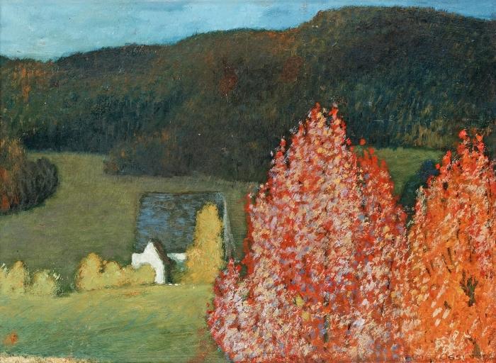 Papier peint vinyle Helmer Osslund - Paysage d'automne avec des arbres - Reproductions