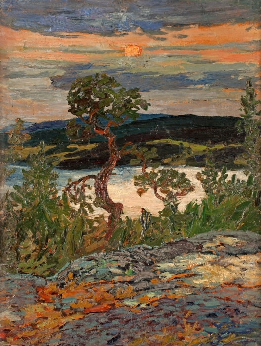 Naklejka Pixerstick Helmer Osslund - Wieczór w Ångermanland - Reproductions