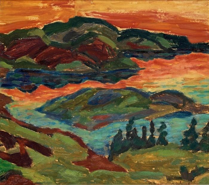 Papier peint vinyle Helmer Osslund - Soirée au fleuve Ljungan - Reproductions