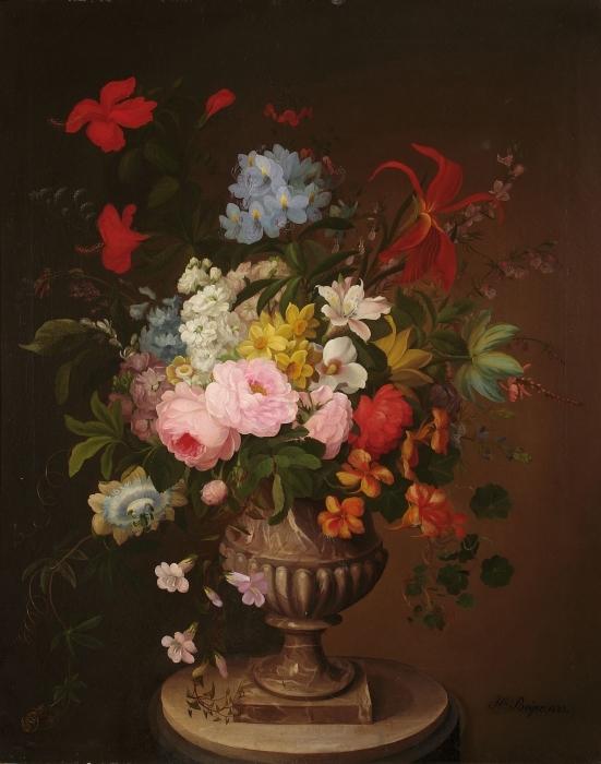 Vinilo Pixerstick Henryka Beyer - Flores en un jarrón - Reproductions