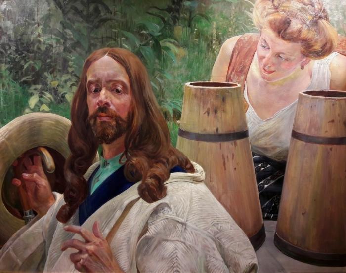 Papier peint vinyle Jacek Malczewski - Le Christ et la samaritaine - Reproductions