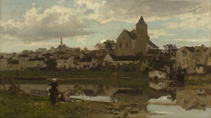Jacob Maris - View at Montigny Pixerstick Sticker - Reproductions