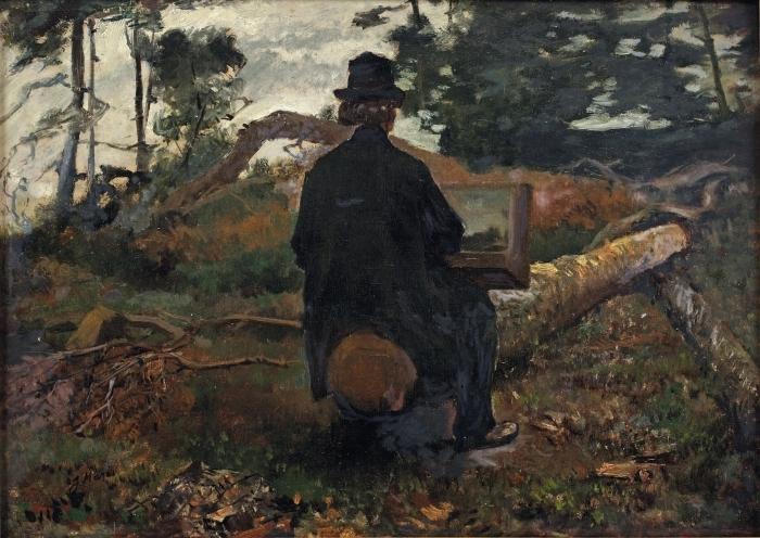 Adesivo Pixerstick Jacob Maris - Il pittore Frederik Hendrik Kaemmerer al lavoro a Oosterbeek - Reproductions