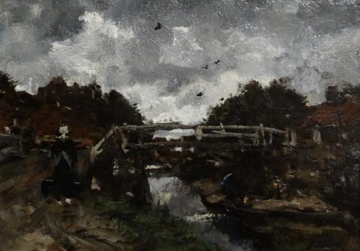Papier peint vinyle Jacob Maris - Pont de bois - Reproductions