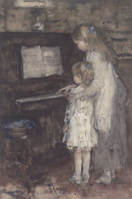 Papier peint vinyle Jacob Maris - Les filles de Jacob Maris au piano - Reproductions