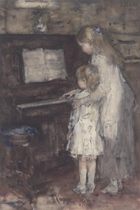 Jacob Maris - Jacob Maris' Daughters at the Piano Pixerstick Sticker - Reproductions