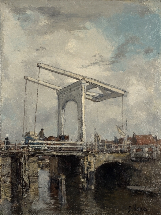 Naklejka Pixerstick Jacob Maris - Most zwodzony w holenderskim miasteczku - Reproductions