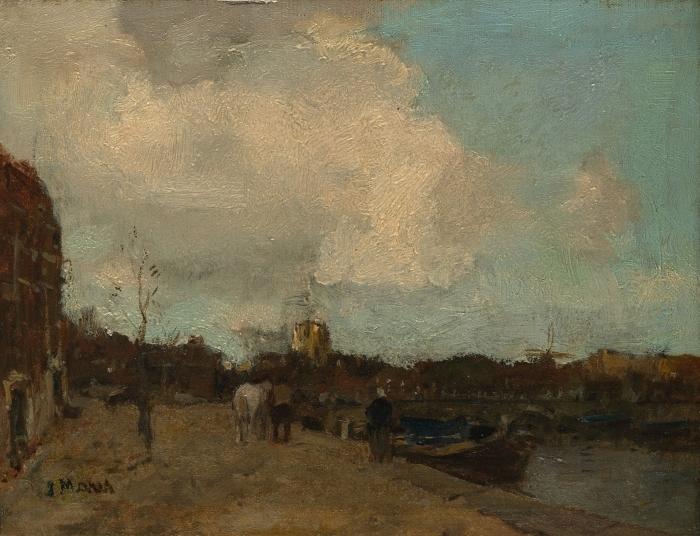 Papier peint vinyle Jacob Maris - Côté du canal - Reproductions