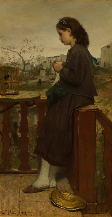 Papier peint vinyle Jacob Maris - Fille tricotant sur un balcon, Montmartre - Reproductions
