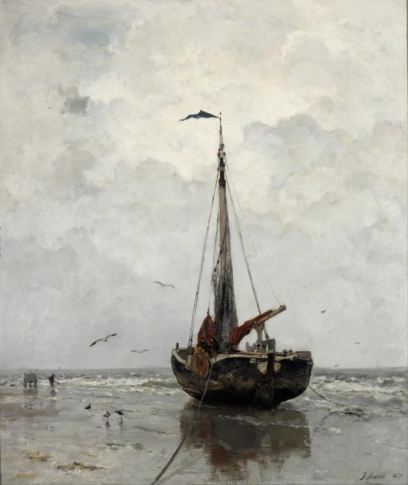 Adesivo Pixerstick Jacob Maris - Barca di pescatori - Reproductions