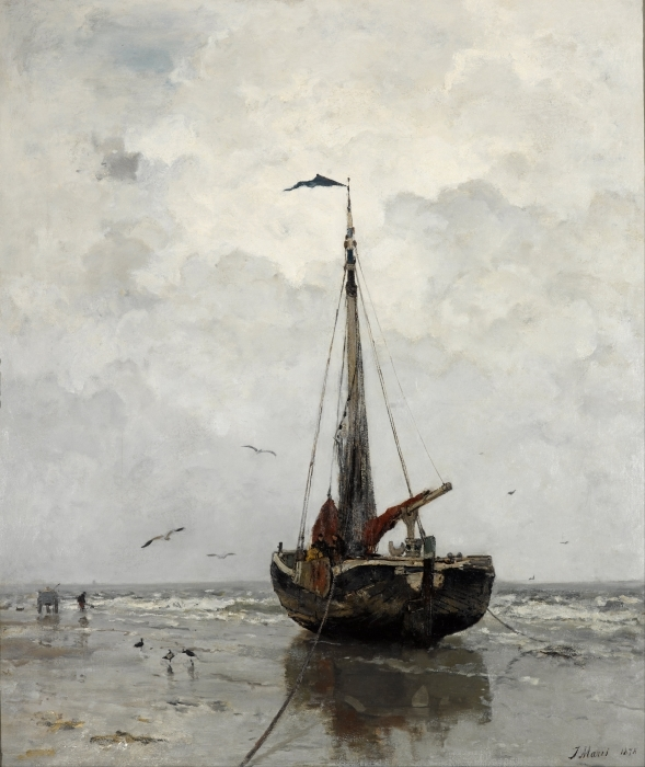 Jacob Maris - Fishing Boat Pixerstick Sticker - Reproductions