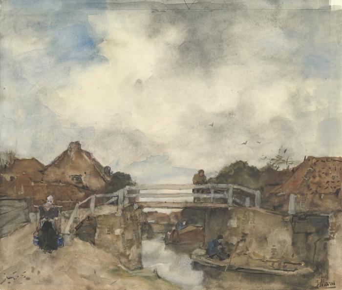 Poster Jacob Maris - Canal hollandais, Rijswijk - Reproductions