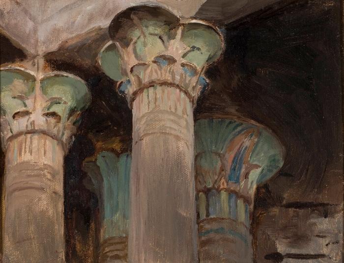 Sticker Pixerstick Jan Ciągliński - Capitales dans le temple d'Isis. Du voyage en Grèce. - Reproductions