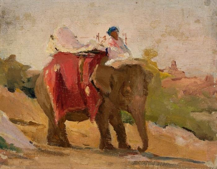 Sticker Pixerstick Jan Ciągliński - Chittorgarh - Mon éléphant. Du voyage en Inde. - Reproductions