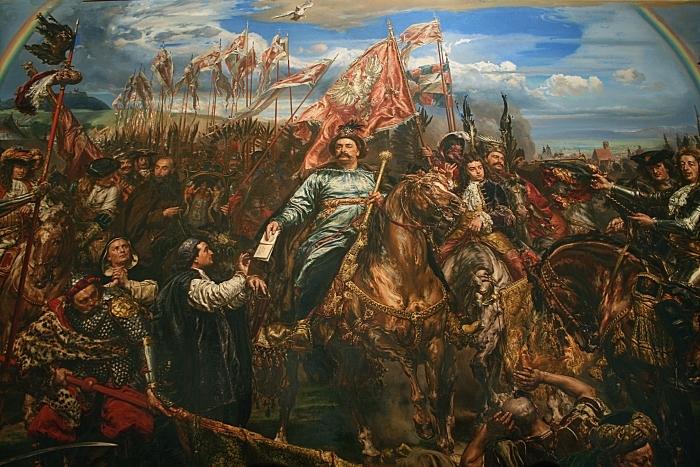 Papier peint vinyle Jan Matejko - Jean III Sobieski envoie un message de victoire au pape après la bataille de Vienne (détail) -