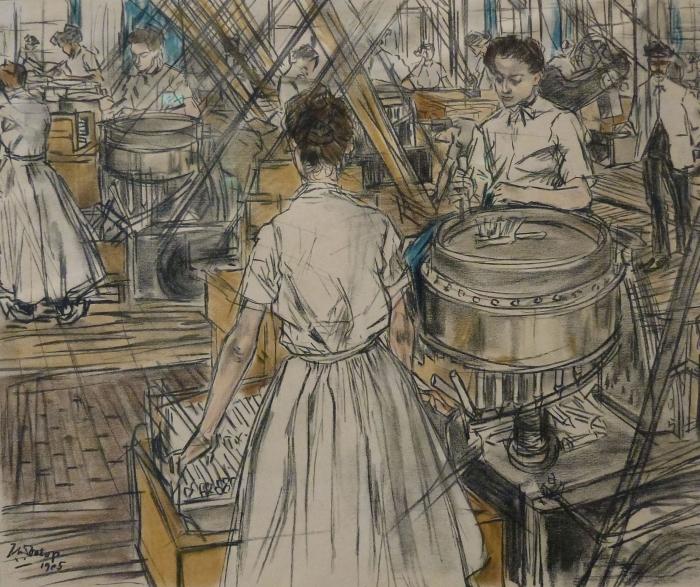 Papier peint vinyle Jan Toorop - Fabrique de bougies à Gouda, 1 - Reproductions