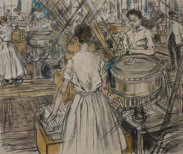 Vinilo Pixerstick Jan Toorop - Fábrica de velas en Gouda, 1 - Reproductions