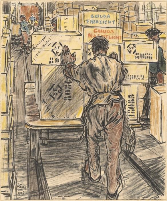 Papier peint vinyle Jan Toorop - Fabrique de bougies à Gouda, 4 - Entrepôt - Reproductions