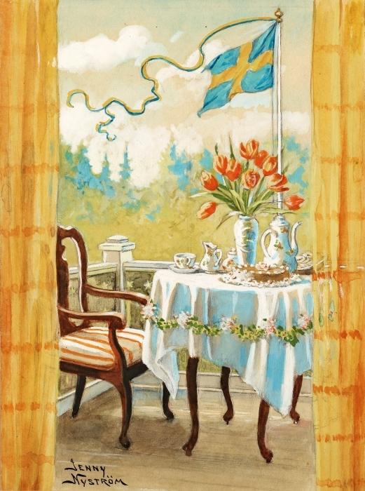 Papier peint vinyle Jenny Nyström - Aquarelle et crayon - Reproductions